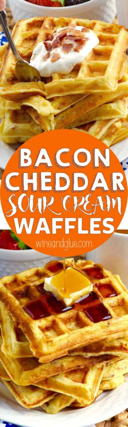 These Bacon Cheddar Sour Cream Waffles are the PERFECT breakfast recipe! Serve them for a holiday brunch or just on any old weekend and you will not be sorry!