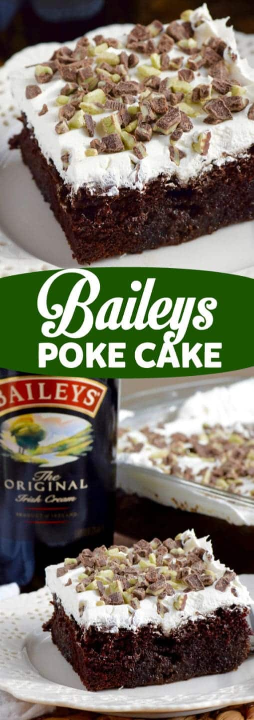 The Baileys Poke Cake has a airy chocolate cake layer topped with cool whip and smashed Andes Baking Chips.