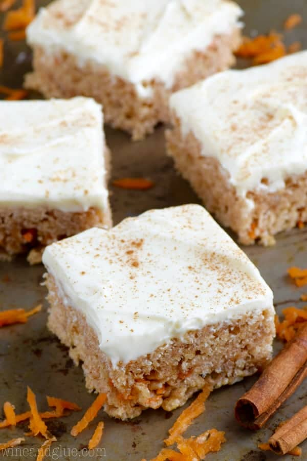 The Carrot Cake Rice Krispies has little shreds of carrot within the rice krispies and topped with a cream cheese frosting topped with cinnamon.