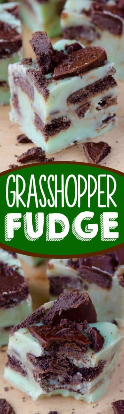 A small cube of the Grasshopper Fudge has a mint green tint with speckles of the grasshopper cookies.
