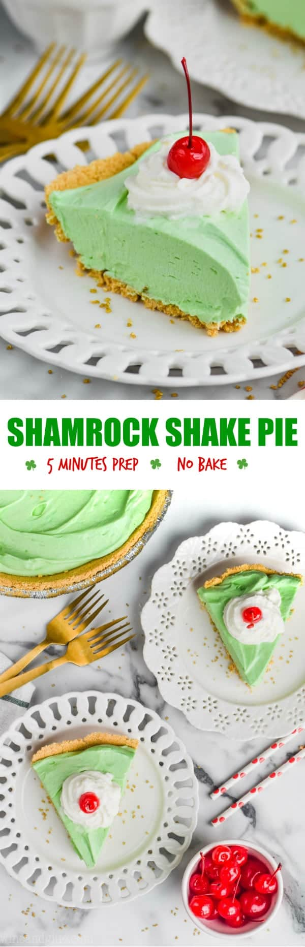 collage of pictures of shamrock shake pie