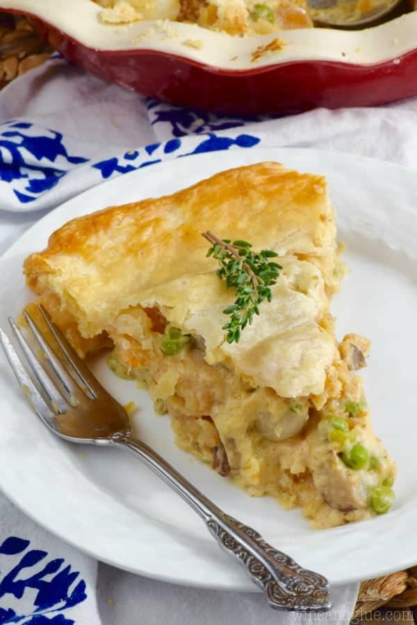 A slice of the Shrimp Pot Pie has a golden flaky crust.