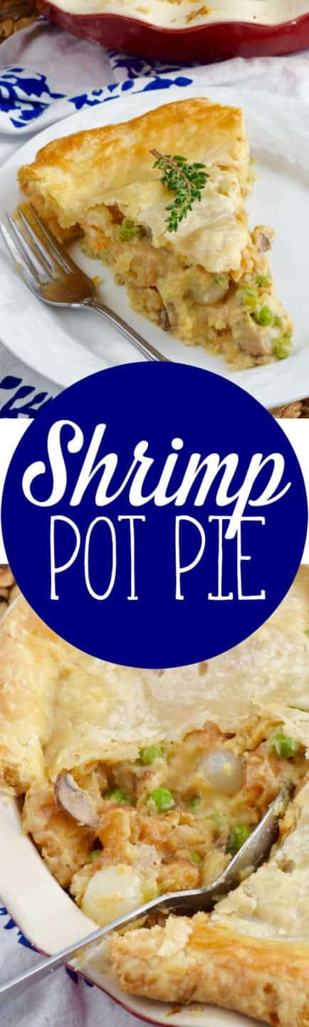 A large slice has been cut out of the Shrimp Pot Pie showing the creamy middle with peas, mushrooms, pearl onions, and shrimp.