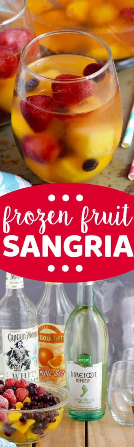 The Frozen Fruit Sangria has strawberries, mangos, cherries, and blueberries floating around the drink.
