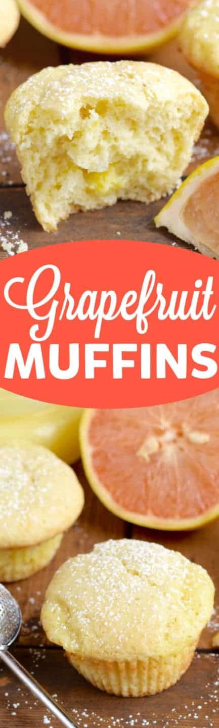 The Grapefruit Muffin has a golden yellow color sprinkled with powdered sugar.
