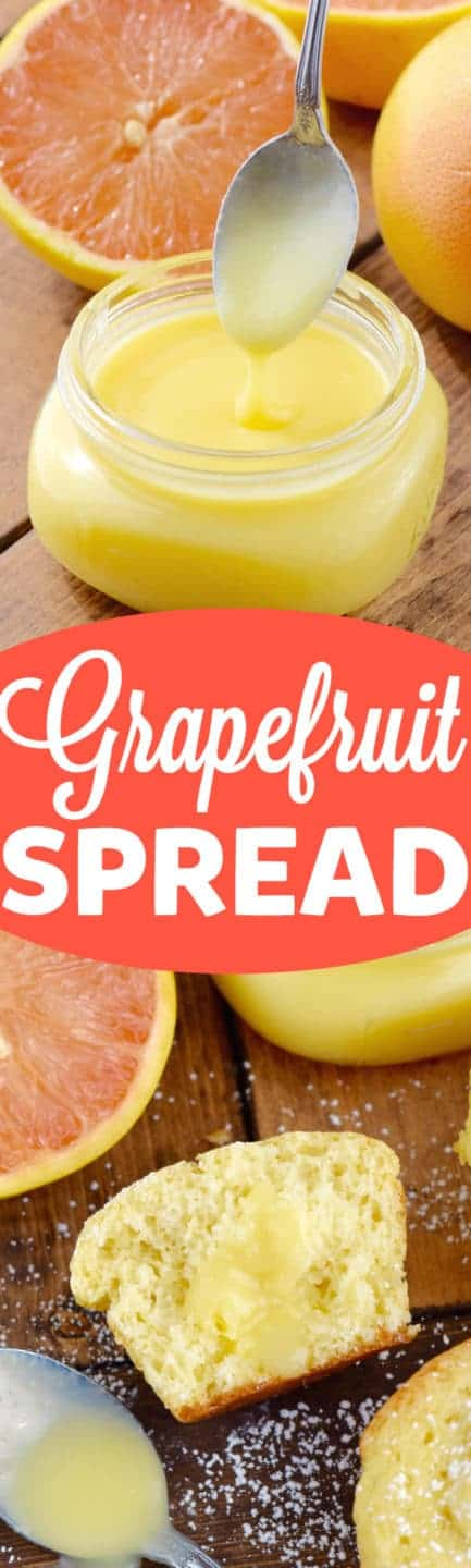 The Grapefruit Spread is drizzled on top of a half eaten Grapefruit Muffin.