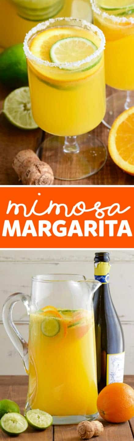 In a glass, the Mimosa Margaritas is rimmed with flaky salt and slices of lime and oranges float in the liquid.