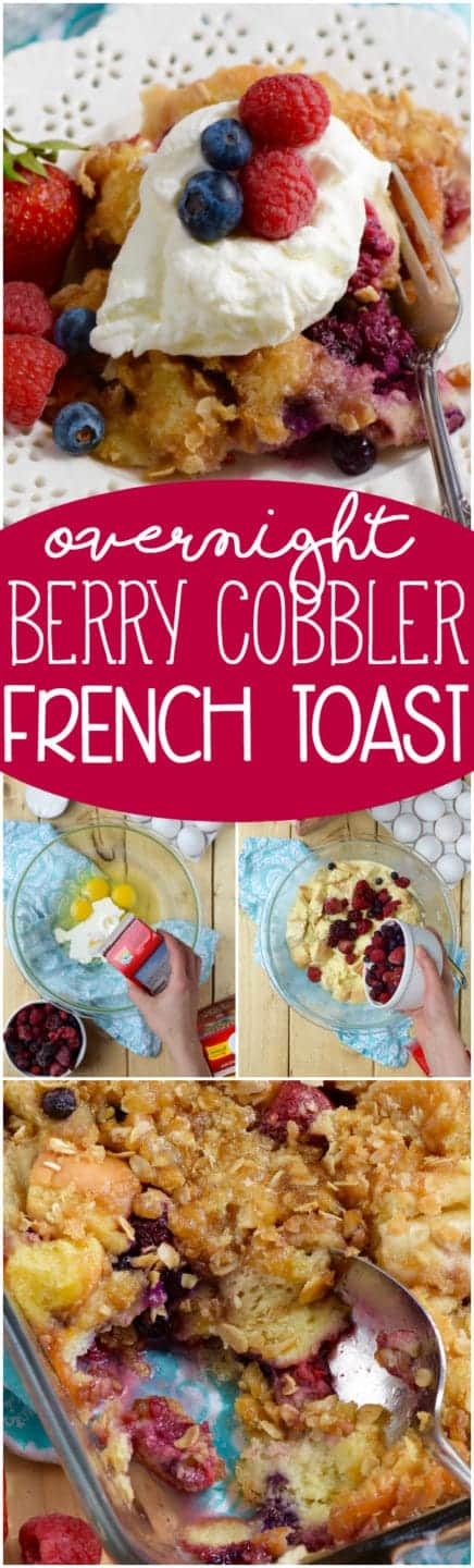 This Overnight Berry Cobbler French Toast is ridiculously easy to throw together the night before and then pop in the oven the next morning! Perfect for holiday brunches and lazy weekends!