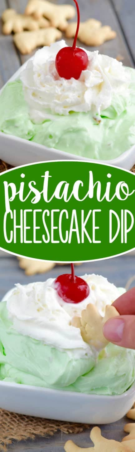 The Pistachio Cheesecake Dip has a fluffy texture with a lime green color and topped with whipped cream and a single cherry.