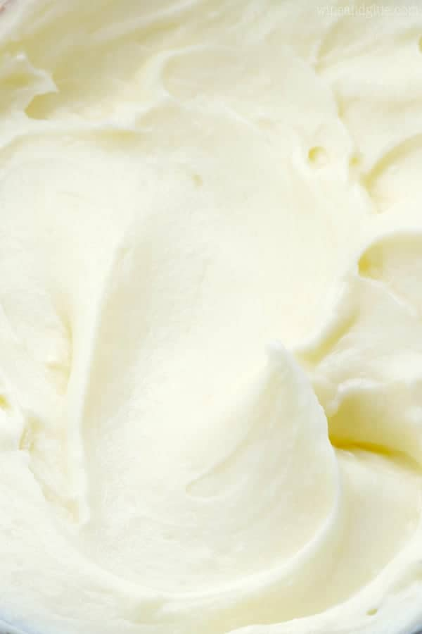 close up view of cream cheese frosting