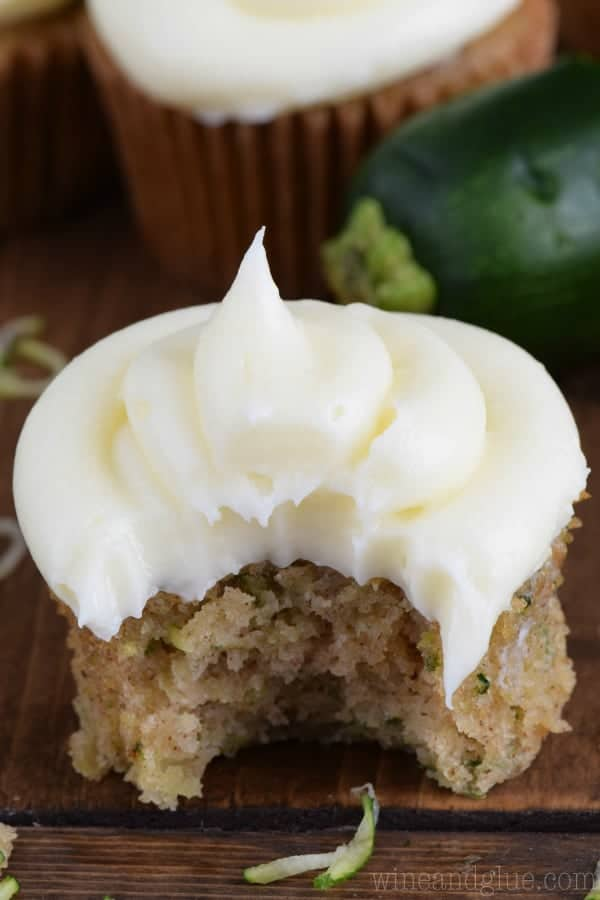 The BEST Cream Cheese Frosting is perfect on these zucchini cupcakes