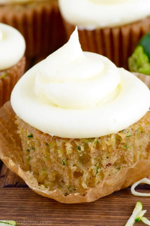 The Zucchini Cupcakes has a golden brown color with thinly sliced zucchini.