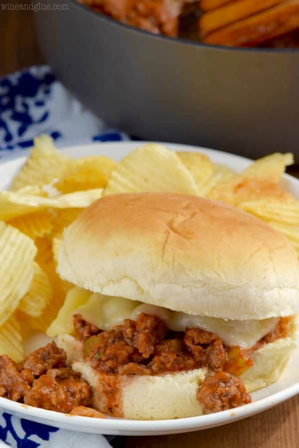 Italian sloppy joes recipe on a plate with chips