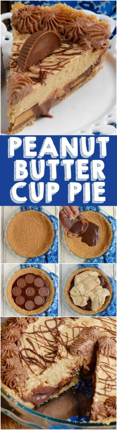 Peanut Butter Cup Pie has layer upon layer of creamy peanut butter deliciousness!  Peanut Butter Lovers, this easy peanut butter pie recipe is for you! #peanutbutter #pie #recipe