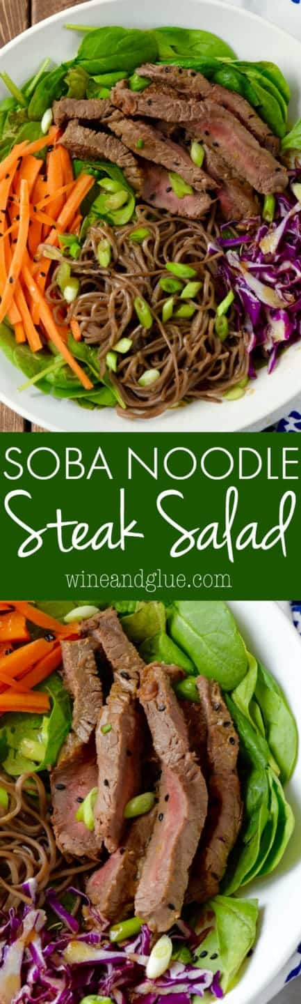 This Soba Noodle Steak Salad is done in under 30 minutes and is PACKED with flavor. Make it for a light dinner for the family, or for lunches to take throughout the week!