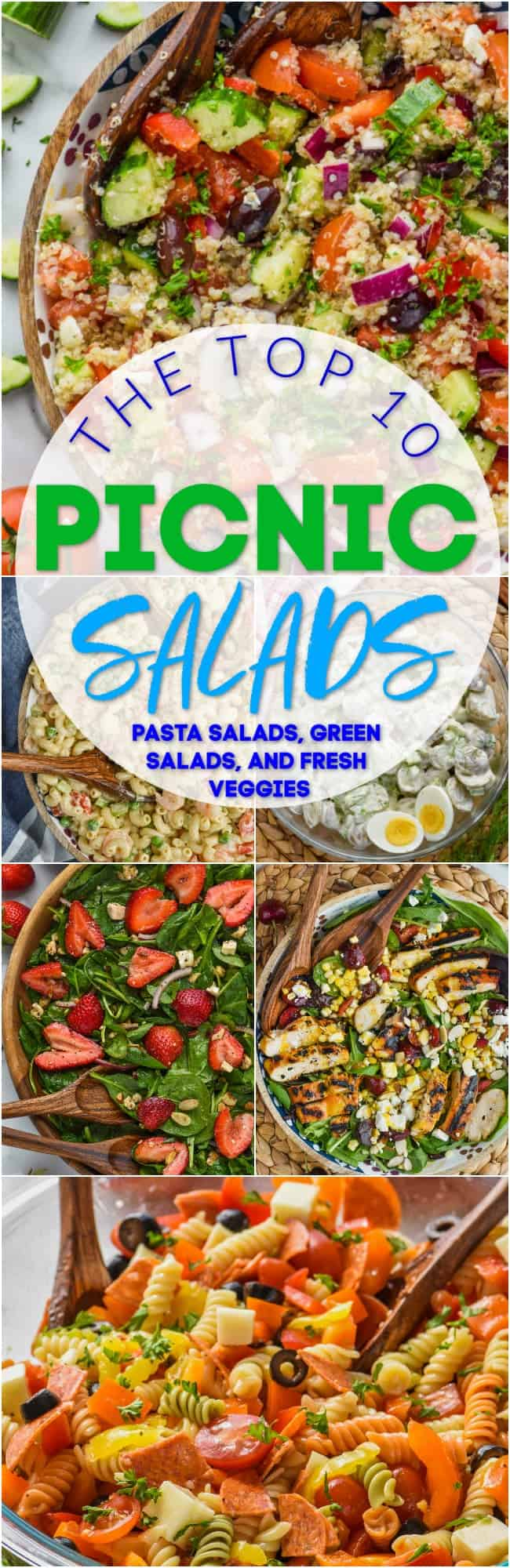 collage of photos of picnic salads