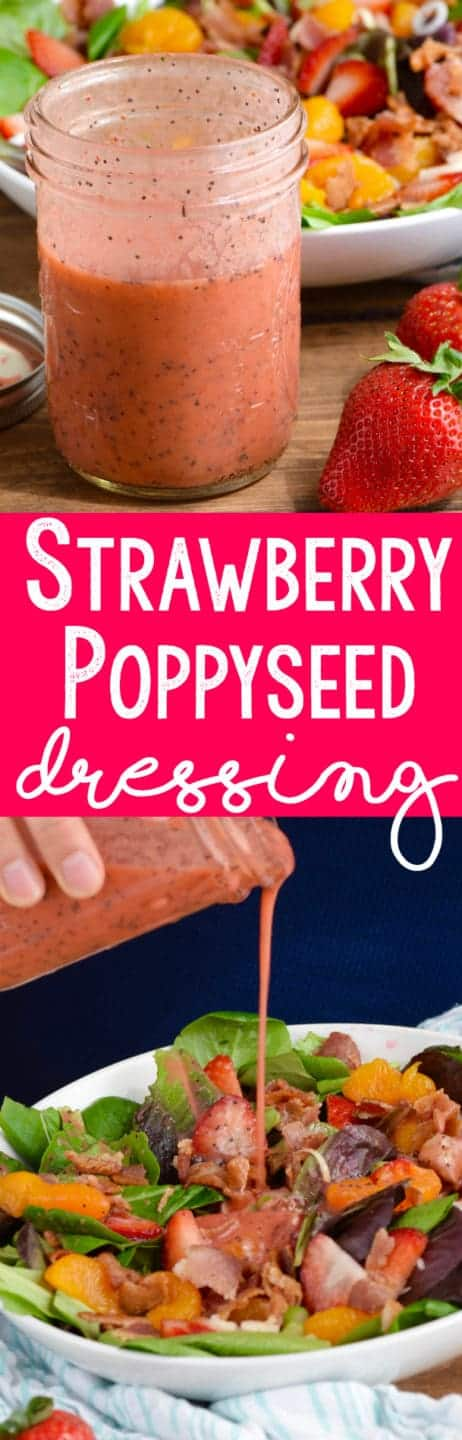 In a mason jar, the Strawberry Poppyseed Dressing has a dark pink color with speckles of black from the poppyseeds.