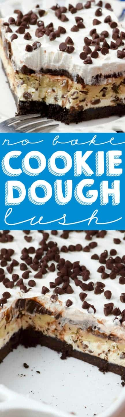 On a white plate, the Cookie Dough Lush has distinct layers of an Oreo crust, cookie dough, and frosting topped with mini chocolate chips.