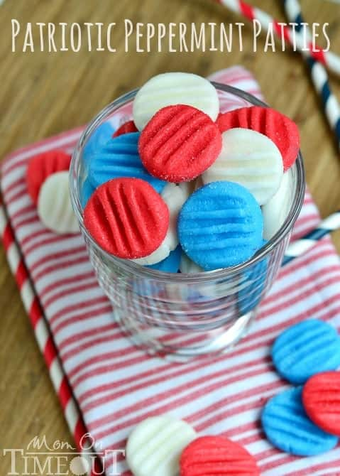 In a glass, the Red White and Blue Patriotic Peppermint Patties are in a circular shape with four lined indents.