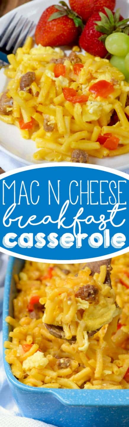 On a white plate, the Mac N' Cheese Breakfast Casserole has chunks of sausage, eggs, and sliced red peppers with a side of strawberries and grapes.