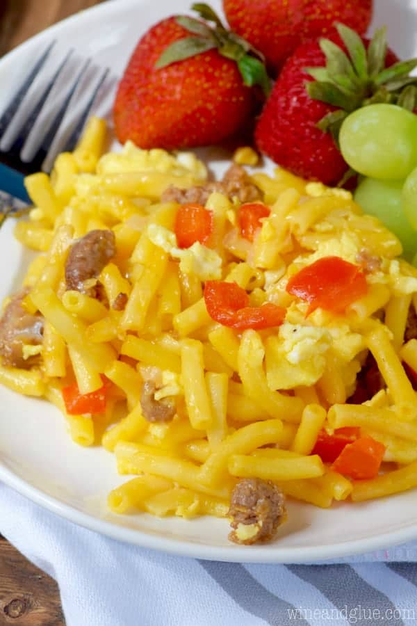 The Mac and Cheese Breakfast Casserole has chunks of sausage, red peppers, and eggs.
