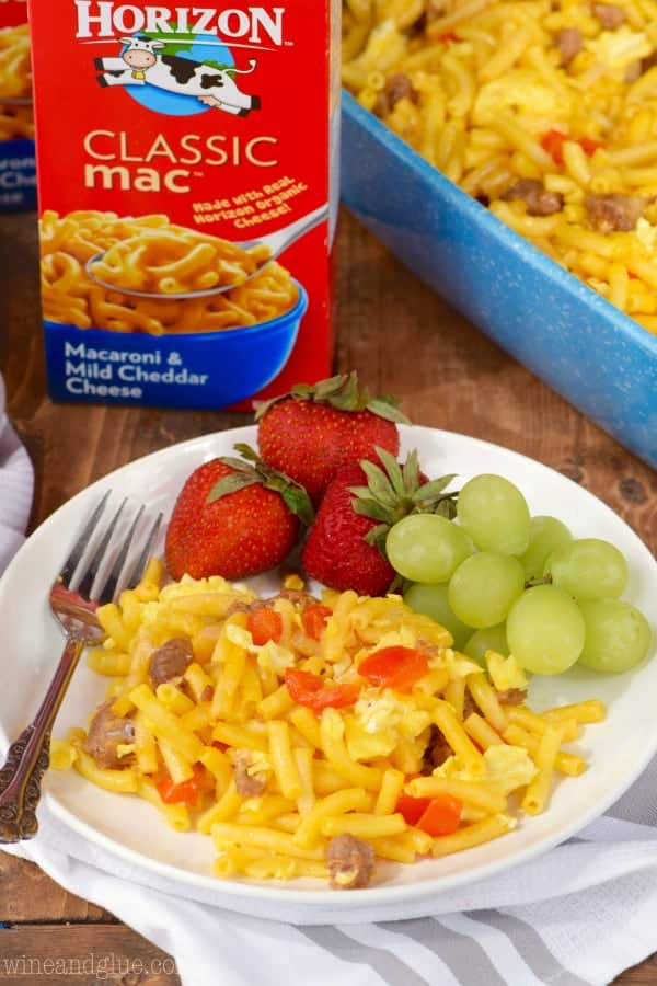 This Mac N Cheese Breakfast Casserole is a fun twist on breakfast that will leave your family totally full!