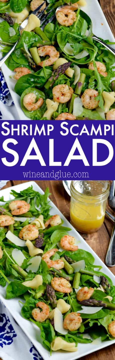 An overhead photo of the Shrimp Scampi salad with spinach, arugula, shrimp, and asparagus.