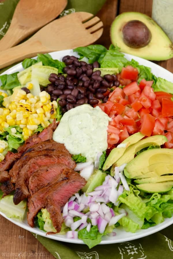Southwestern Steak Salad with Jalapeno Ranch Dressing on a serving dish.