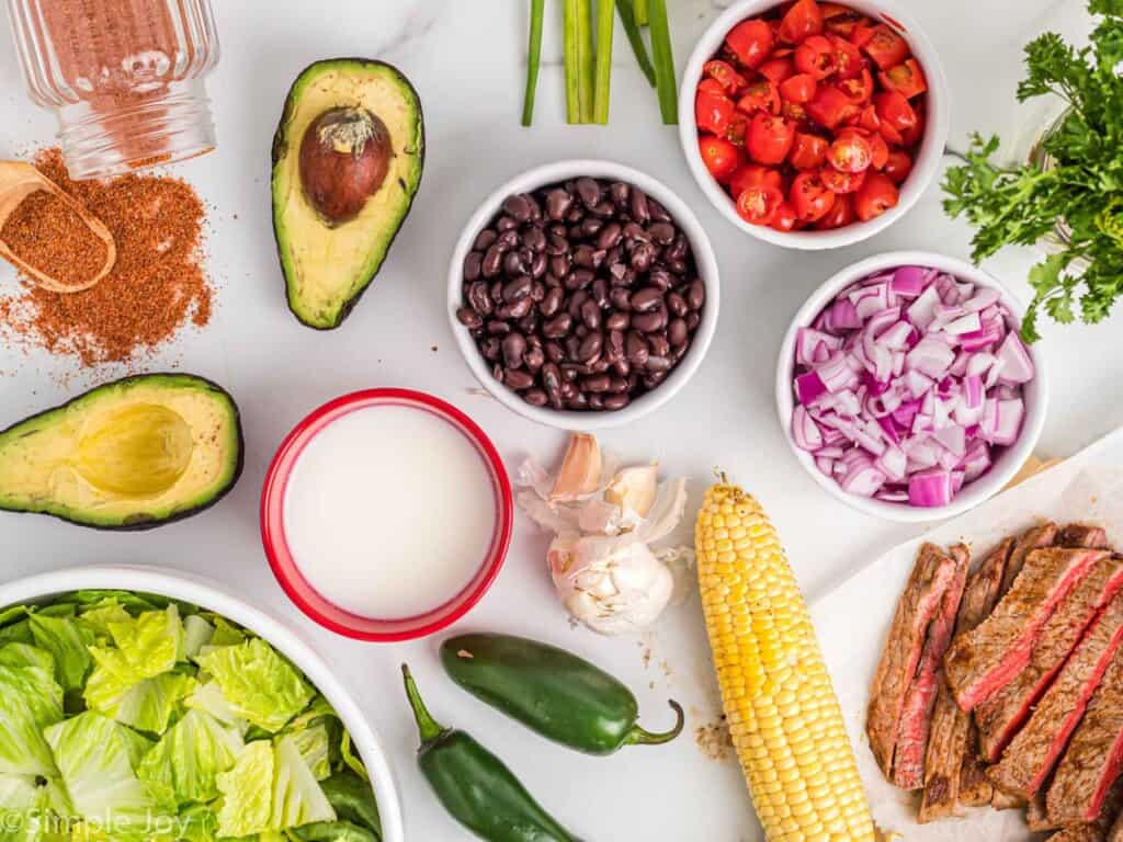 ingredients for a southwestern steak salad