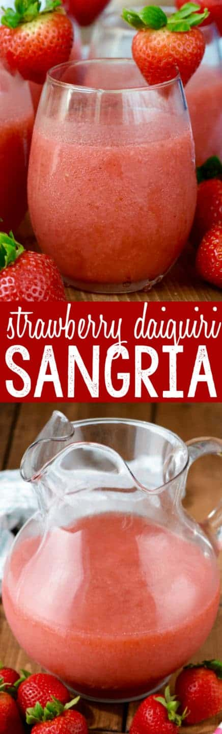 In a wine glass, the Strawberry Daiquiri Sangria has a slushy like consistency with a red coloring.