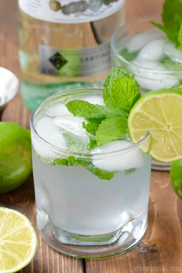 The Simple Mojito is in glass with ice cubes and garnished with mint leave and a slice of lime on it rim.