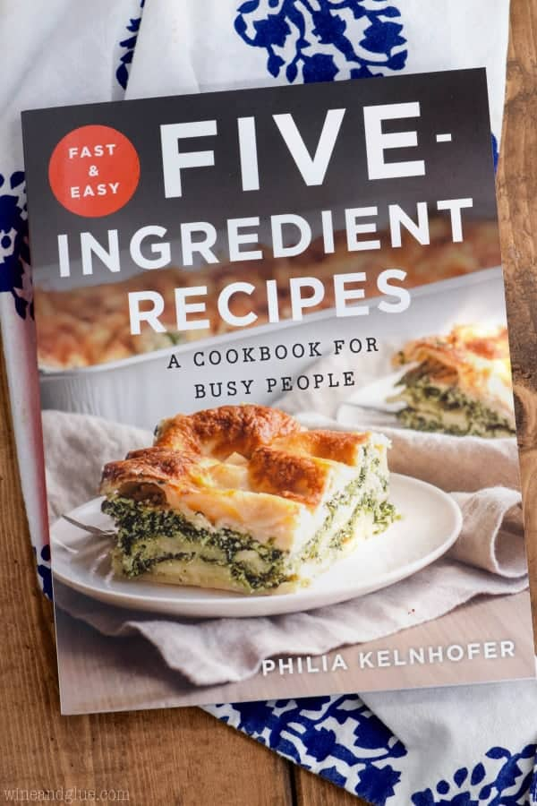 An overhead photo of the book Five Ingredient Recipes by Philia Kelnhofer