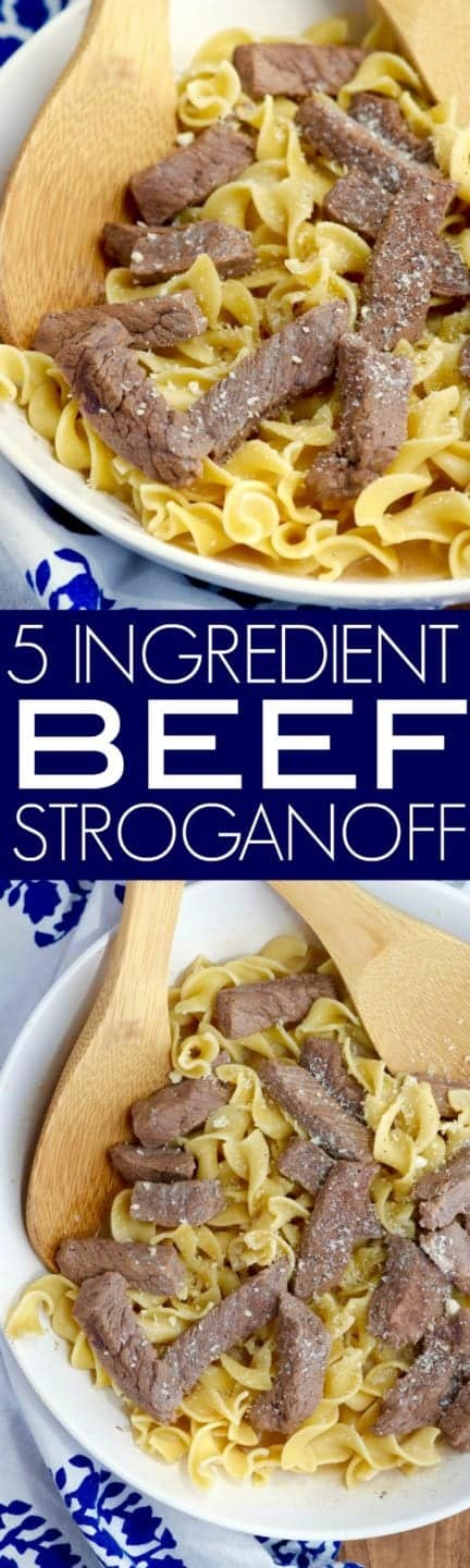 The Five Ingredient Beef Stroganoff is topped with parmesan cheese.