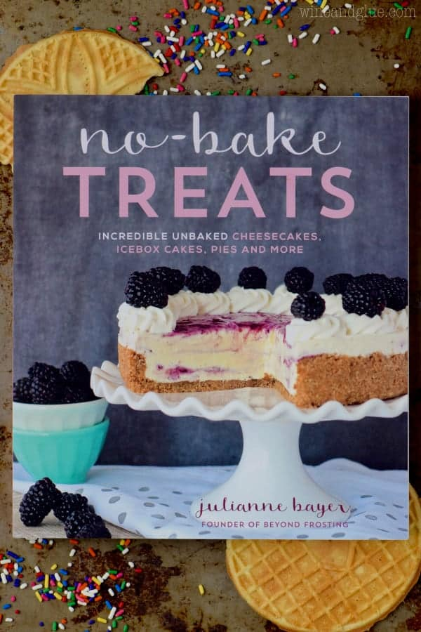 An overhead photo of the No-Bake Treats Book by Julianne Bayer.