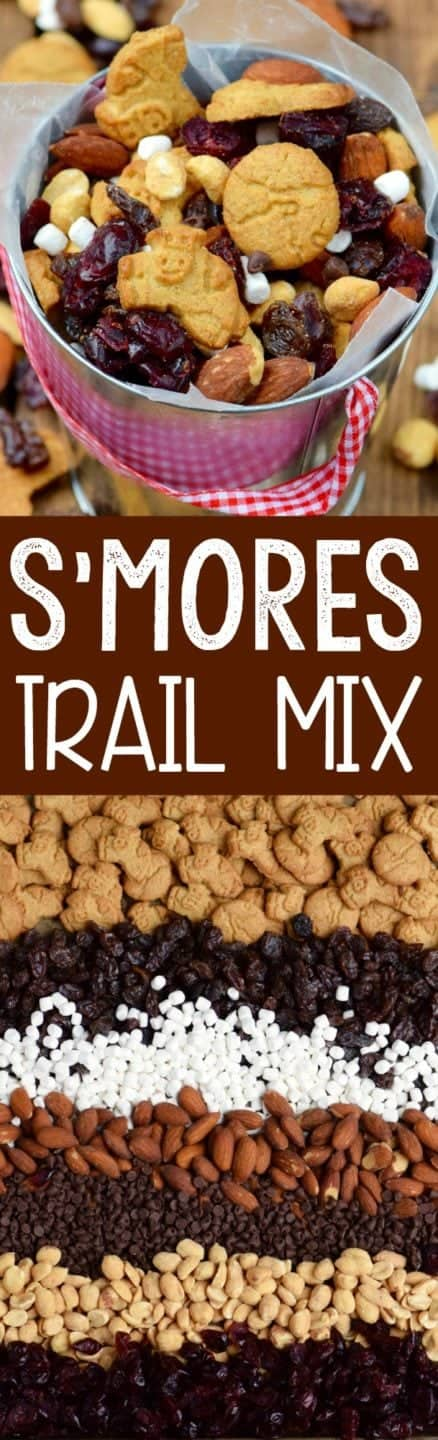In a bucket, the S'mores Trail Mix has different shaped graham crackers, mini marshmallows, mini chocolate chips, dried cranberries, almonds, raisins, and peanuts.