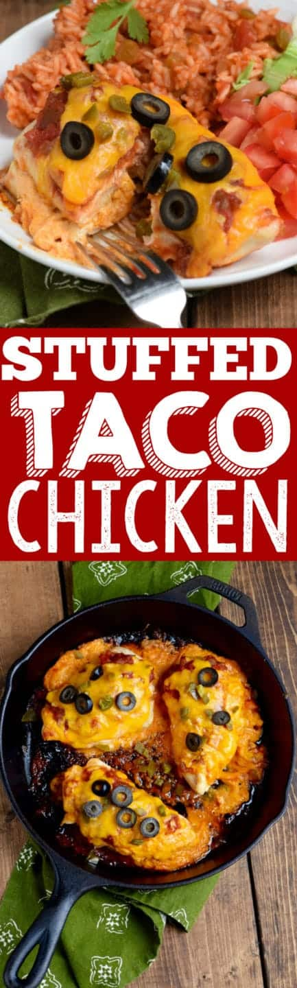 This Stuffed Taco Chicken is a super easy dinner, ready in 30 minutes, but packed with cheesy delicious flavor!