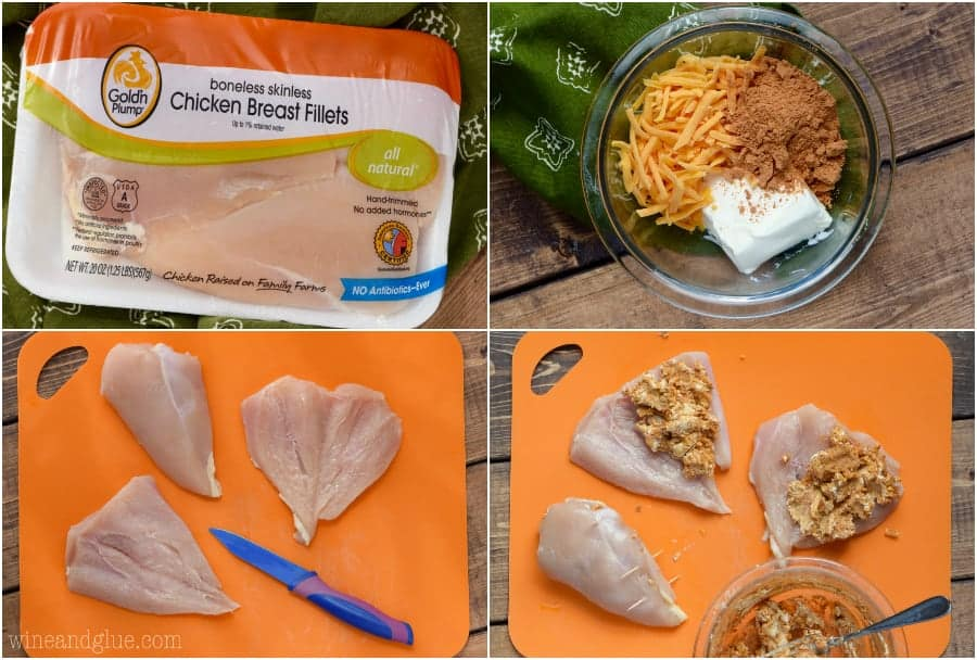 A collage of photos on how to create the Stuffed Taco Chicken. The cheese, the cream cheese, and taco seasoning is mixed together. The chicken breast is butterflied which allows dollops of the filling to be placed inside.