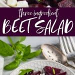 collage of photos of roasted beet salad with feta