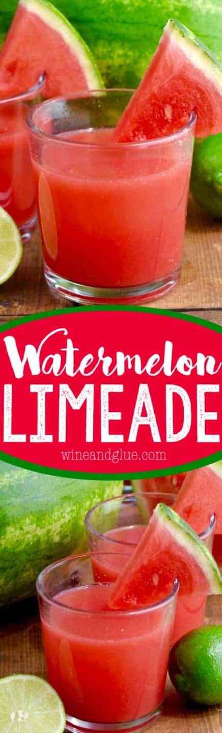 In a glass, the Watermelon Limeade has a red color and a slice of watermelon on the rim.