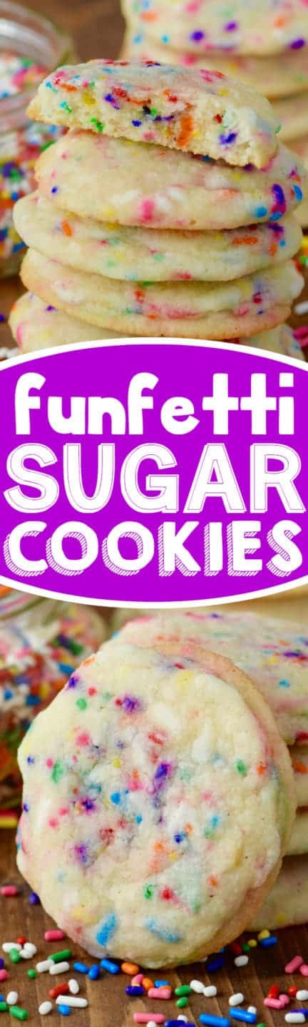These Funfetti Sugar Cookies are crisp on the outside, buttery soft on the inside, and jam packed with sprinkles! Such a yummy fun treat!