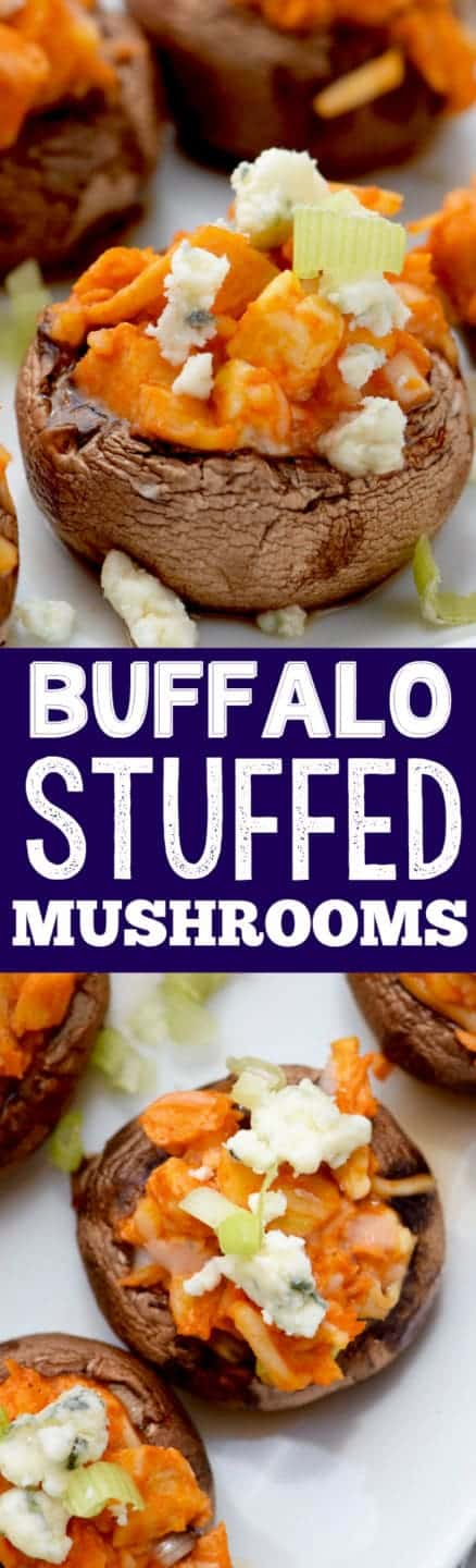 These Buffalo Chicken Stuffed Mushrooms are easy to throw together and an AWESOME appetizer!