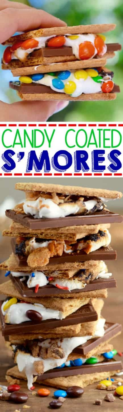 A two stacked Candy Coated S'mores with M&M as in the melted marshmallow.