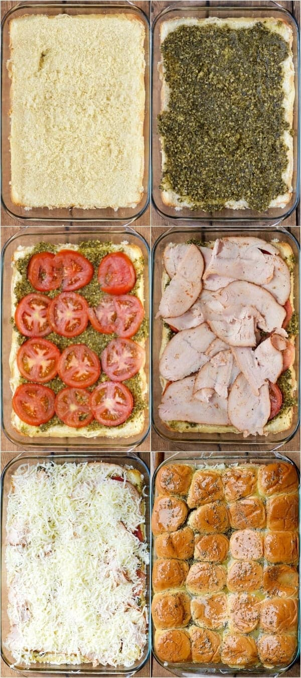 A collage on how to create the Italian Pesto Sliders. First, half of the buns are in the casserole dish and then in this order, the pest, tomatoes, turkey, cheese, and the top buns are put on.