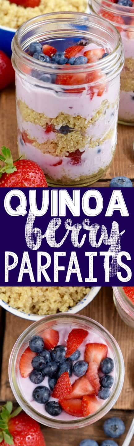 This Quinoa Berry Parfait is a make ahead breakfast that is full of flavor and protein to keep you full all morning! Perfect for busy mornings!