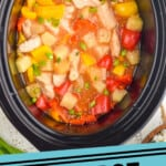 pinterest graphic of overhead of crockpot sweet and sour chicken in a slow cooker