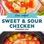 pinterest graphic of pictures of sweet and sour chicken