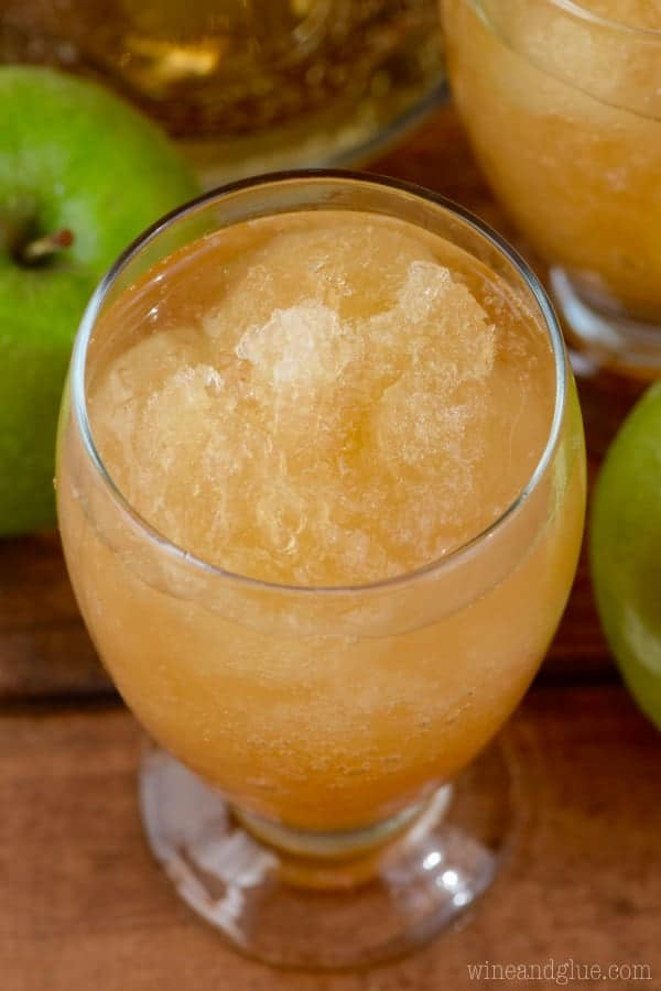 An overhead photo of the Apple Brandy Slush in a glass.
