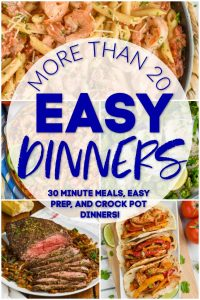 collage of photo of easy dinner recipes
