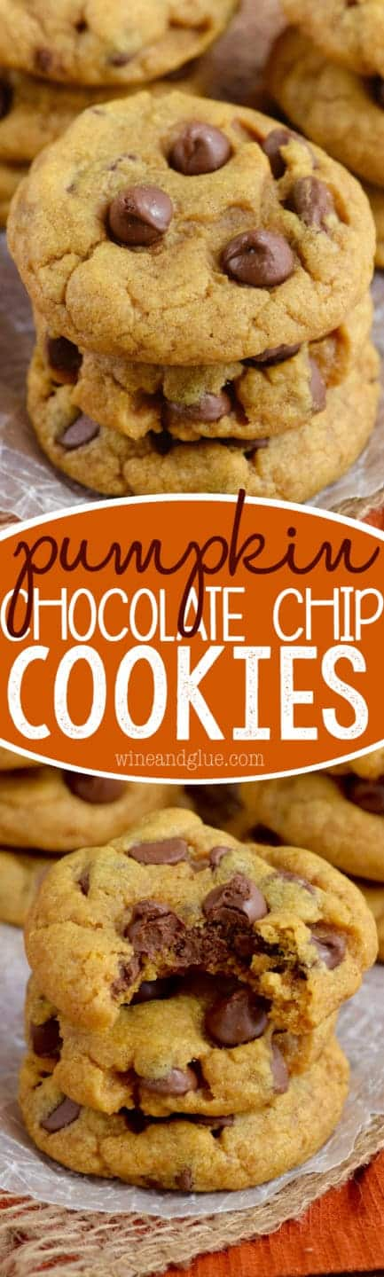 These Pumpkin Chocolate Chip Cookies are a fall twist on your favorite! Crisp on the outside and buttery delicious on the inside!