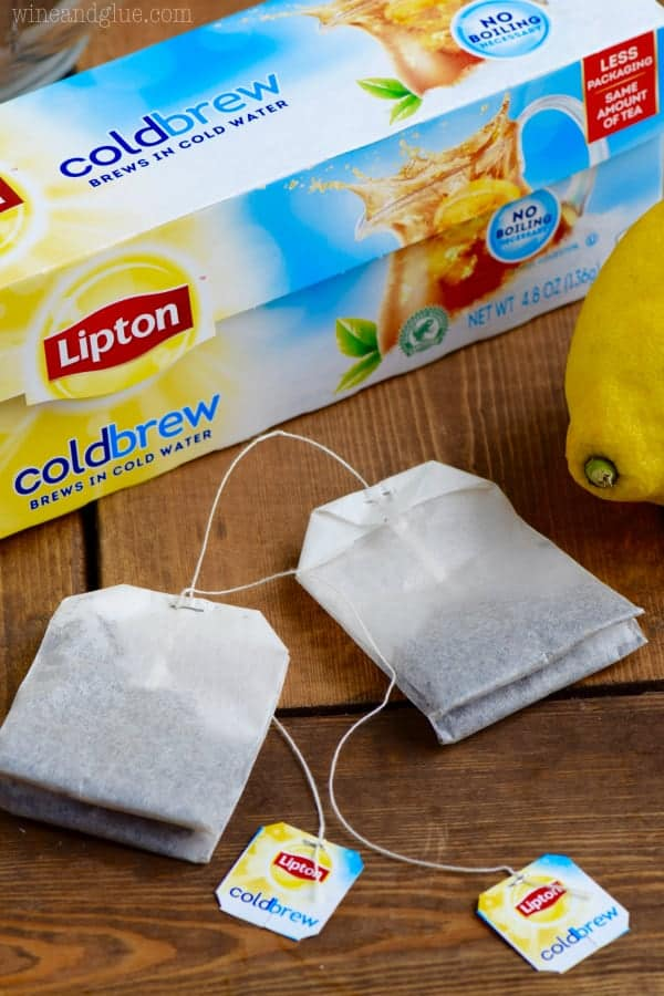 A picture of two Lipton Cold Brew Tea Bags in front of the Lipton box.